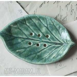 wylegarnia pomyslow mydelniczka zielony listek, ceramika, mydelinczka, listek dom
