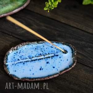 podstawka na kadzidełka, talerzyk liść niebieski -podł, ceramiczna