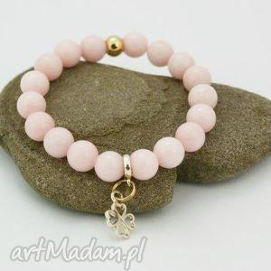 bransoletka jadeit różowy z zawieszką, bransoletk, kamień, jadeit, zawieszka, kulki