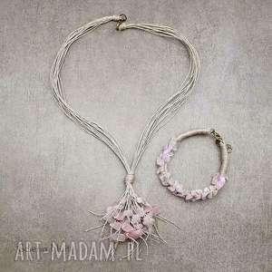 kwarc różowy - komplet z bransoletką, kwarc, jasny, pastelowy, lekki, naturalny