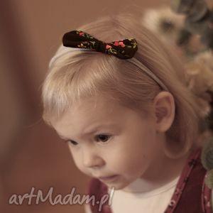 Opaska LADY z kokardką - czarny góralski wzór, bezuciskowa, tradycyjna, słodka