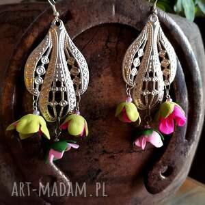 ruda klara kolczyki boho kwiaty lekkie box x1, bohemian, wiszące, slub, kwiatowa