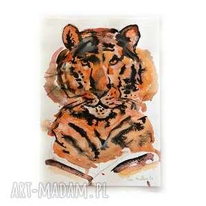 akwarela - tygrys oryginał a5, z tygrysem, ilustracja, rysunek