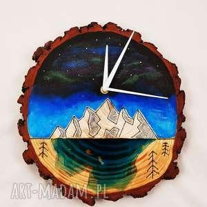 Drewniany zegar ścienny z żywicą, zegar, las, góry, natura, eko, żywica