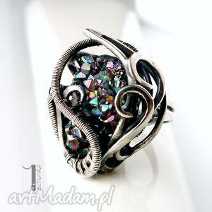 osobliwość-aurora - srebrny pierścień z kwarcem tytanowym - kwarc, tytan