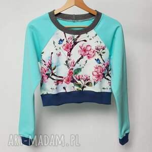 bluzy miętowa klasyczna bluza 3/4 z kwiatem czereśni, bluza, turkusowa