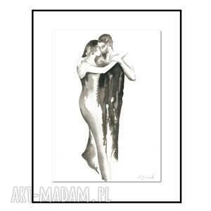 ona i on - rysunek tuszem, abstrakcja 30cm x 40cm, oryginał, obraz do salonu