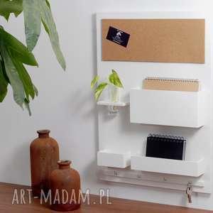 organizer - 45x63 cm, drewniany, na ścianę, biały, ścianę