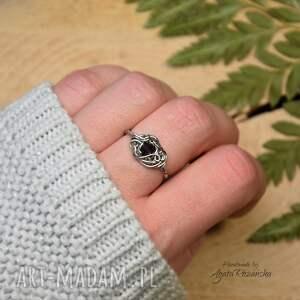 pierścionek regulowany z ametystem stal chirurgiczna wire wrapping
