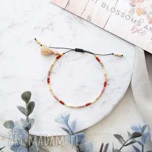 bransoletka koralikowa minimal - beige meadow, japońskie szklane koraliki toho