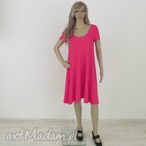 71kr - sukienka rozkloszowana fuksja, sukienka, dzianina, rozkloszowana, trapez