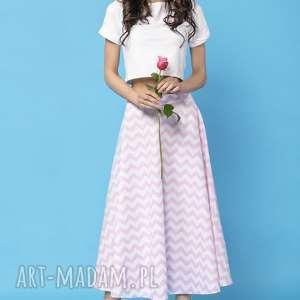 spódnice spódnica midi z tkaniny bawełnianej, mmm35, zygzak różowy