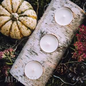 Świecznik brzozowy świeczniki hagal rustic, rustykalny,
