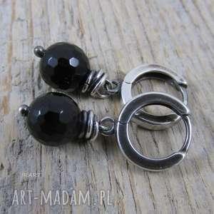Czarny turmalin - delikatne kolczyki , srebro, oksydowane,