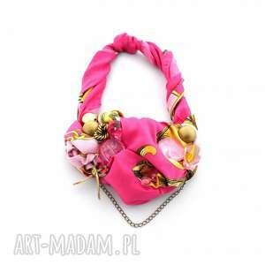 włóż róż naszyjnik handmade, naszyjnik, kolia, róż, różowy, fuksja, złoty naszyjniki