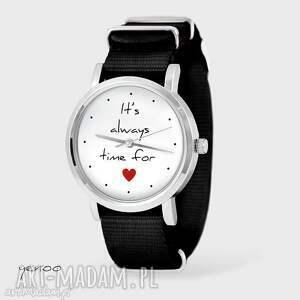 zegarek, bransoletka - it is always time for love czarny, nato, zegarek