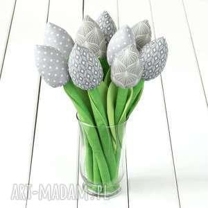 tulipany szary bawełniany bukiet, tulipany, kwiaty, skandynawski styl, hygge