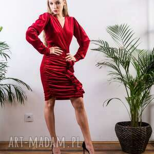 welurowa mini sukienka mydream czerwona, mini