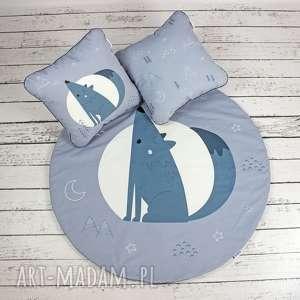 wilk welurowa mata do zabawy oraz dwie poduszki, mata, dywanik, dekoracja