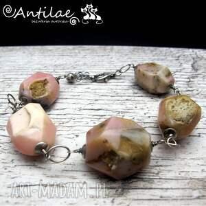 Impurtente - Opal różowy, srebro, bransoletka, opal