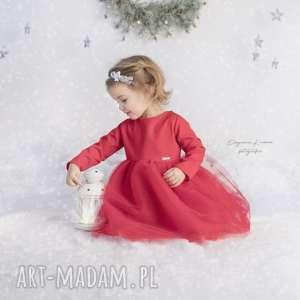 Sukienka tiulowa z cekinowa kokarda, cekiny, tiul