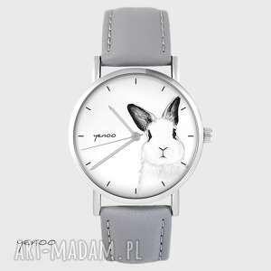 zegarki zegarek yenoo - królik szary, skórzany, zegarek, królik, zając