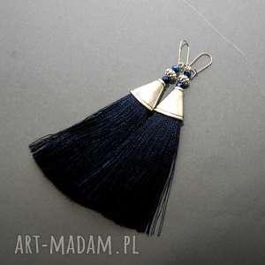 kolczyki z chwostami, sznurek, eleganckie, wiszące, granatowe, długie, metal