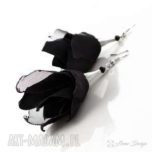 Kolczyki Silk czarne kwiaty, długie, lekkie, rockabilly, eleganckie