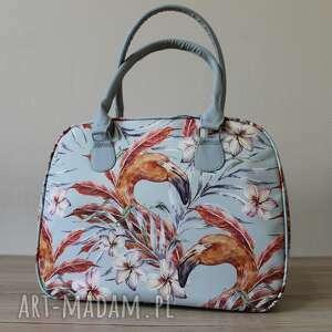 na ramię kuferek - flamingi vintage, elegancka, pakowna, prezent, kufer
