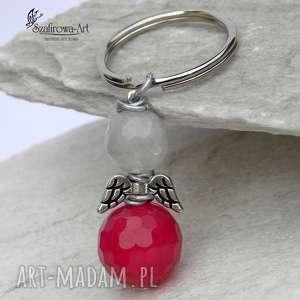 Prezent Anioł Agat z kryształem róż, anioł, klucze, brelok, prezent