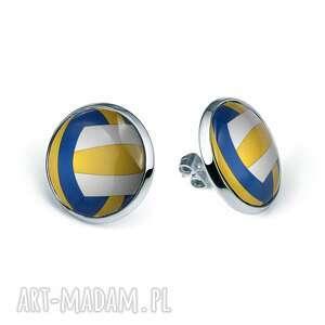 kolczyki sztyfty z grafiką volleyball, piłka, siatkówka, sport, boisko, prezent