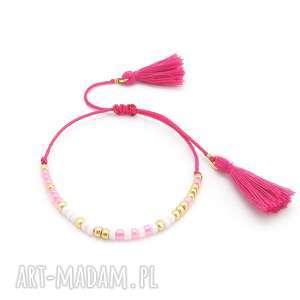 bransoletki bransoletka minimal - baby pink, bransoletka, minimal, boho, lato, letnia