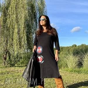 wyjątkowy prezent, trapezowa sukienka, maxi dress, sukienka czarna, etnostyle