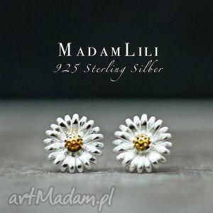 925 srebrne mini kolczyki KWIAT , kolczyki, kwiat, biżuteria, berlin, vintage