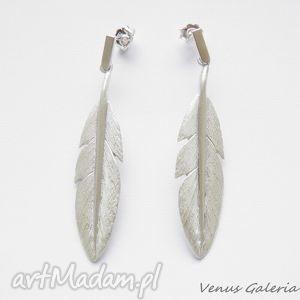 Kolczyki srebrne - Białe pióra, biżuteria, srebro, kolczyki