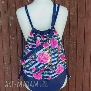 komplet nerka plecak kosmetyczka - ,zestaw,plecak,nerka,piwonie,kwiaty,kosmetyczka,