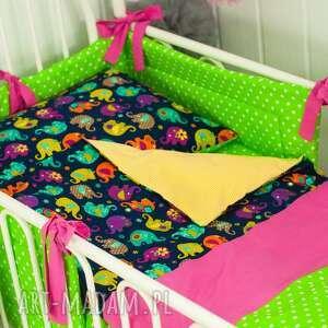 pościel kolorowe słoniki, pościel, bawełna pokoik dziecka dla