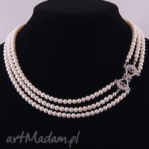 Elegancki naszyjnik z białych, naturalnych pereł naszyjniki