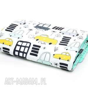 handmade dla dziecka kocyk kołderka 100x135 minky bawełna autka /