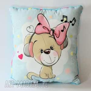 poduszka duża z psią panienką - piesek, poduszka, dziewczynka, dekoracja