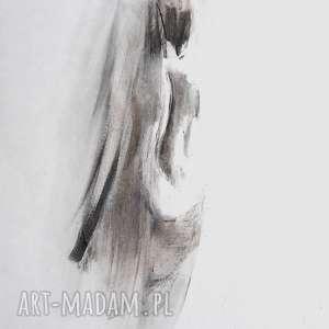 woman 30x40, obraz kobieta, grafika czarno biała grafika, biały