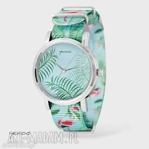 Prezent Zegarek, bransoletka - Jungle leaves flamingi, nato, zegarek,