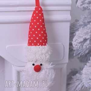 ozdoby świąteczne mikołaj świąteczny w kropki, pomysł-na-prezent, mikołaj-zawieszka