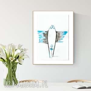 obrazy grafika 30x40 cm wykonana ręcznie, abstrakcja, elegancki minimalizm, obraz do salonu, niebieski