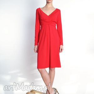 Steffany - sukienka midi z udrapowaniem kolory, jersey, marszczenia, draperie