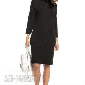 sukienki luźna sportowa sukienka z kapturem, t321, czarna