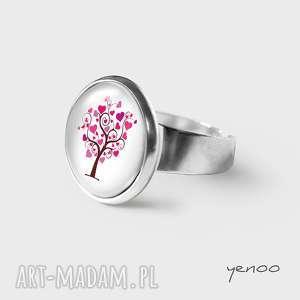 pierścionek - drzewko miłości, pierścionek, grafika, drzewko, serce, unikatowy