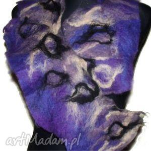 handmade szaliki fioletowy filcowy kołnierzyk