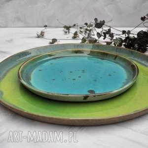 Zestaw talerzy kolorowych - 2 szt ceramika tyka ceramika, talerz