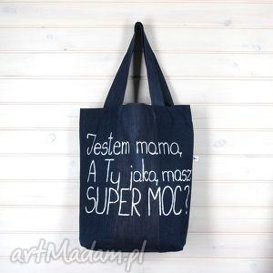 godeco torba super mama, torba, prezent, dżinsowa, denim, napis torebki